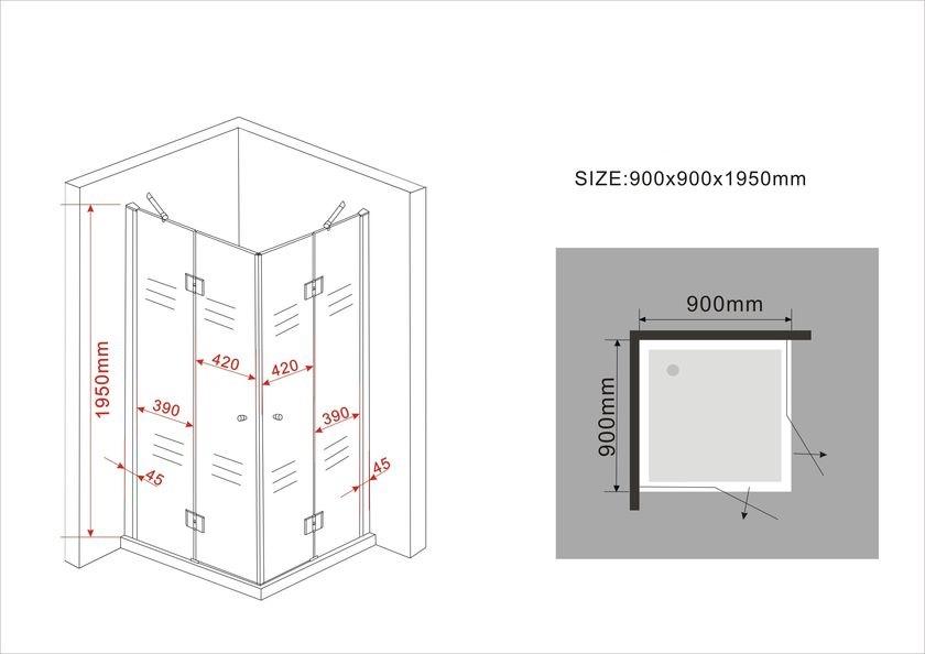 Duschkabine CANTO (schwarz) 90 x 90 x 200 cm inkl. Duschtasse