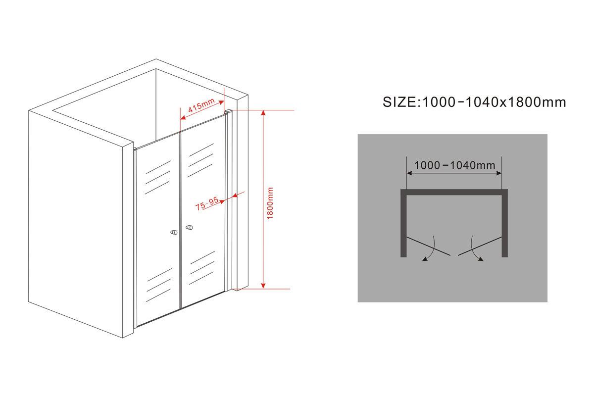 nischent r cavito 180 cm duscht r duschabtrennung duschkabine nischenabtrennung ebay. Black Bedroom Furniture Sets. Home Design Ideas