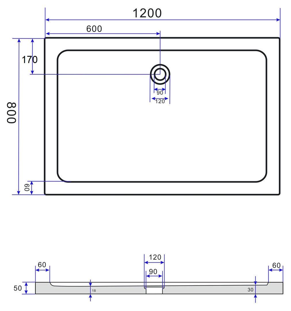 duschkabine area 120 x 80 cm inkl duschtasse alphabad. Black Bedroom Furniture Sets. Home Design Ideas