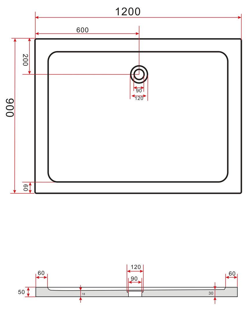 duschkabine metero 120 x 90 x 200 cm inkl duschtasse alphabad. Black Bedroom Furniture Sets. Home Design Ideas