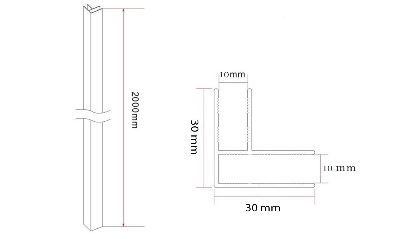 Eckprofil zur Verbindung von zwei 10 mm Glasteilen (Vacante)