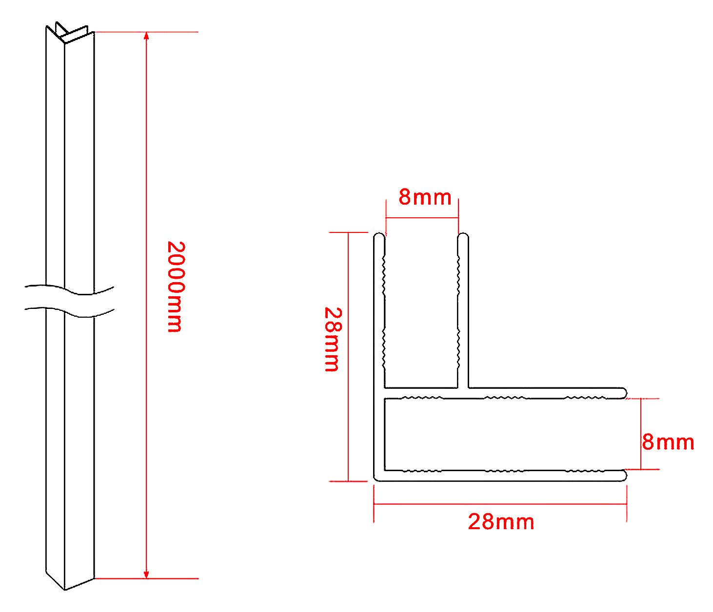 Eckprofil zur Verbindung von zwei 8 mm Glasteilen (Didivo)