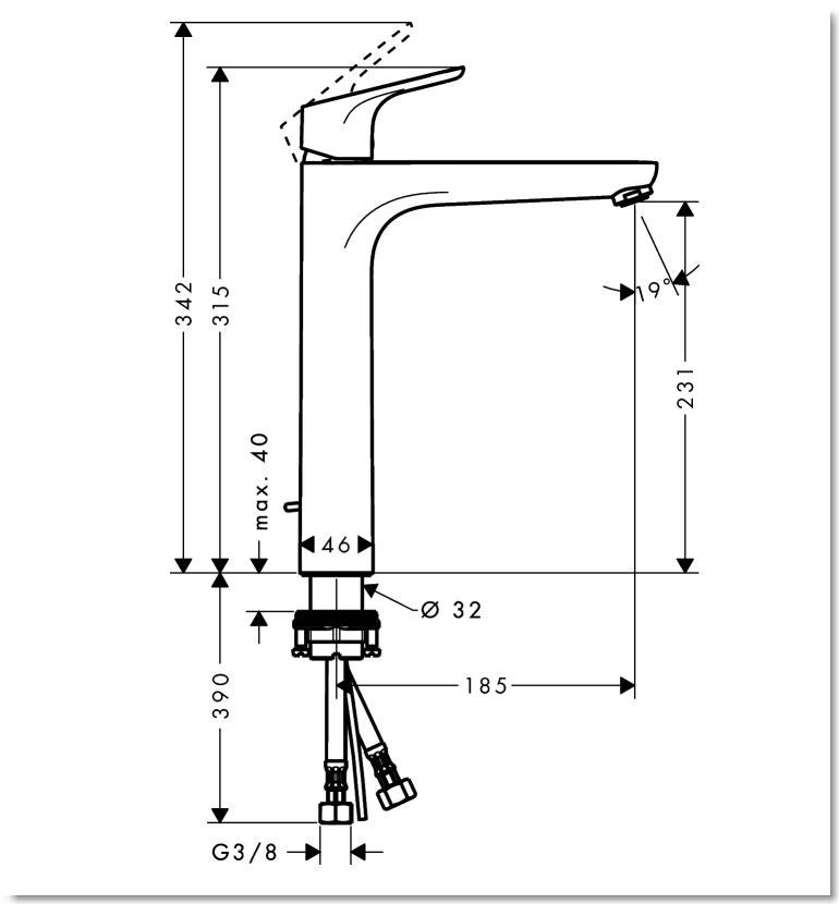 HG Focus Einhebel-Waschtischmischer 230 mit Zugstangen-Ablaufgarnitur