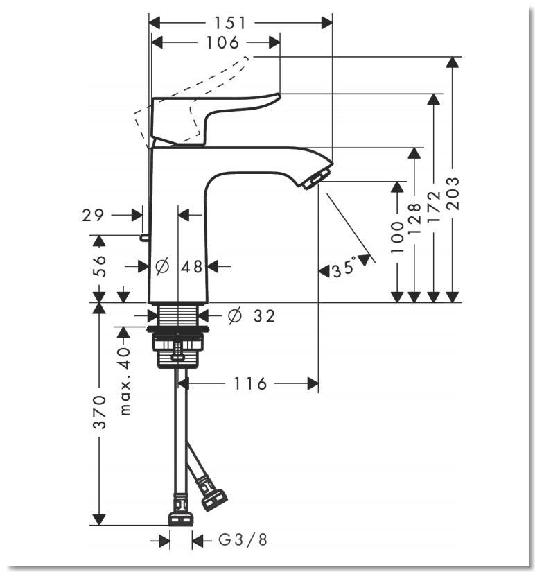 HG Metris Einhebel-Waschtischmischer 110 mit Zugstangen-Ablaufgarnitur
