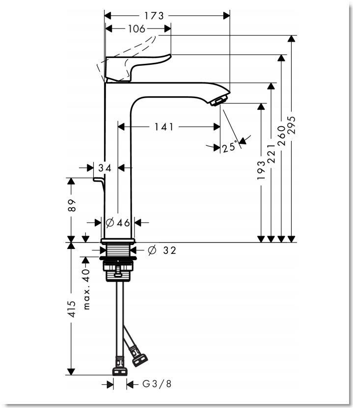 HG Metris Einhebel-Waschtischmischer 200 mit Zugstangen-Ablaufgarnitur
