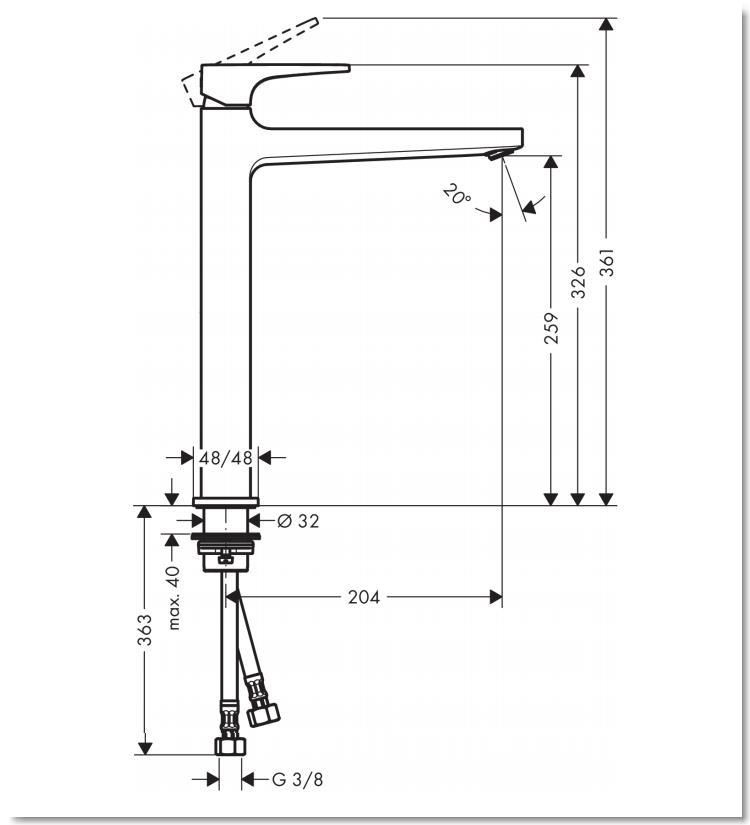HG Metropol Einhebel-Waschtischmischer 260 mit Hebelgriff für Waschschüsseln mit