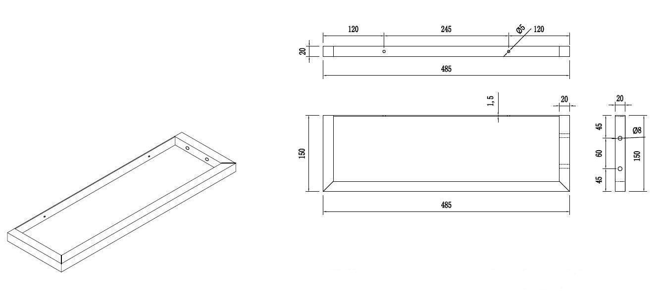 Handtuchhalter-Set für Waschtischkonsolen (verchromt)