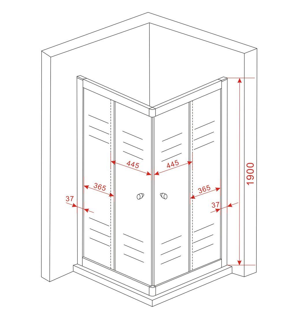 Duschkabine ST01 (schwarz) 90 x 90 x 190 cm ohne Duschtasse