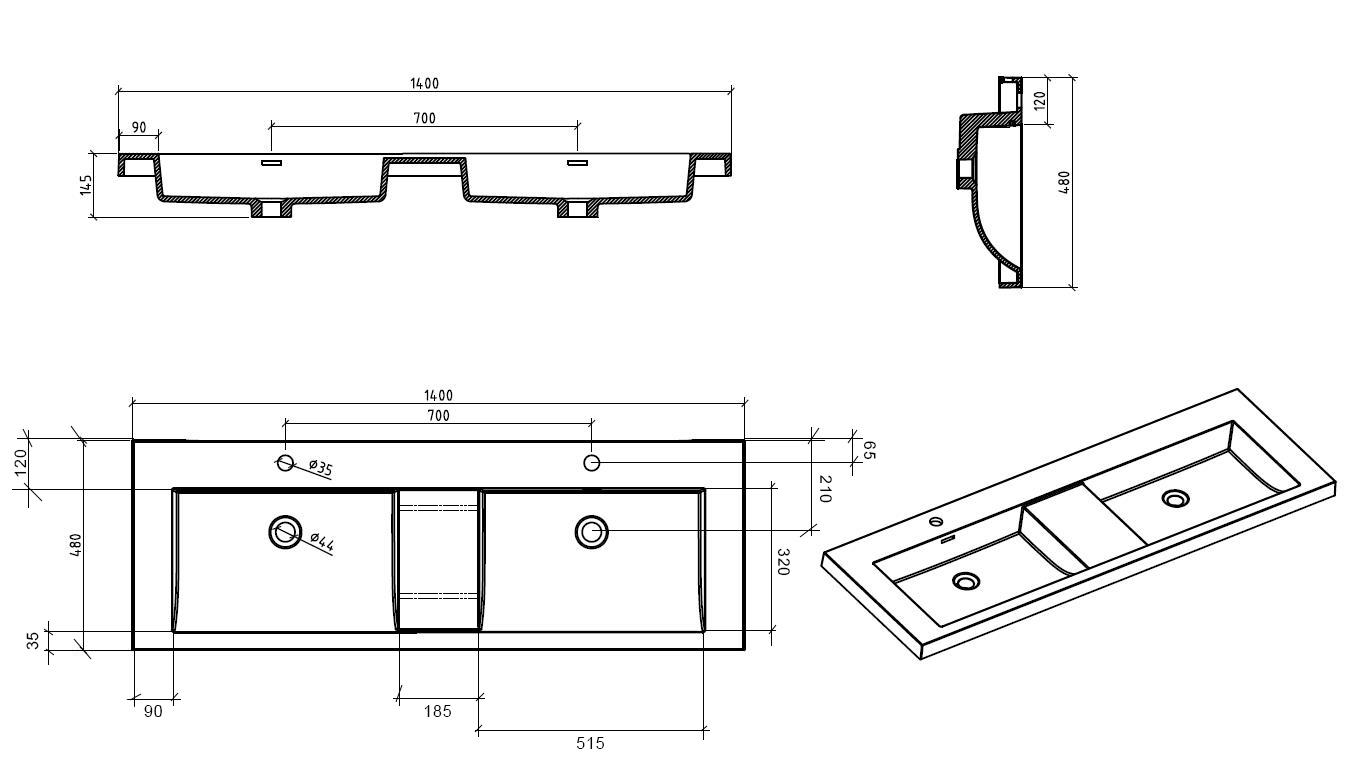 Badmöbel Unterschrank SWIFT 140 inkl. Doppelwaschtisch (hochglanz-weiß)