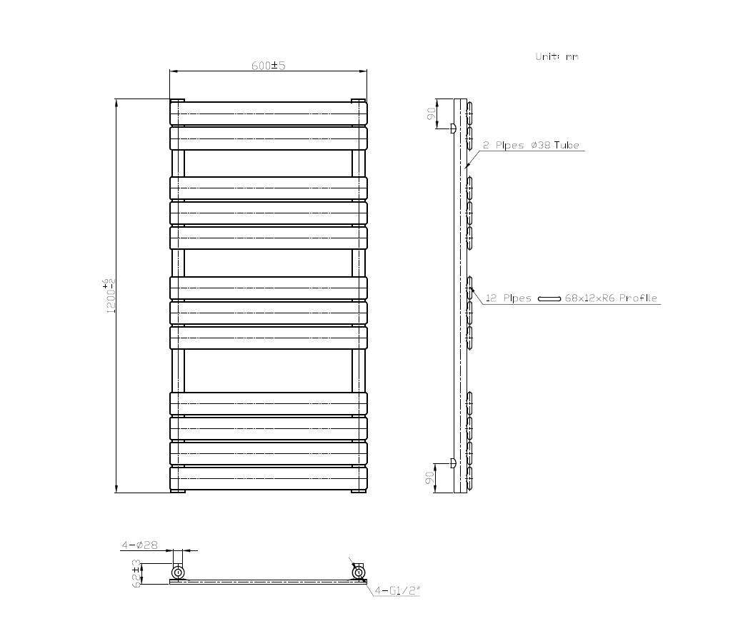 Badheizkörper SECTIO in 120 x 60 cm (Seitenanschluss, grau)