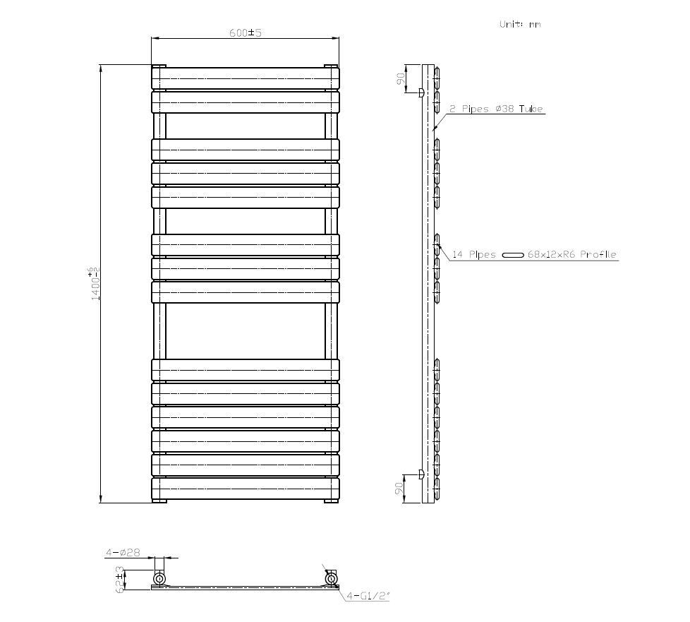 Badheizkörper SECTIO in 140 x 60 cm (Seitenanschluss, grau)