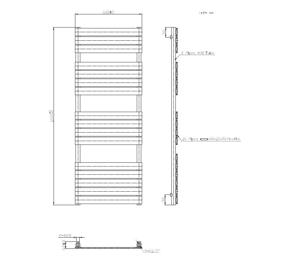 Badheizkörper SECTIO in 160 x 60 cm (Seitenanschluss, weiß)