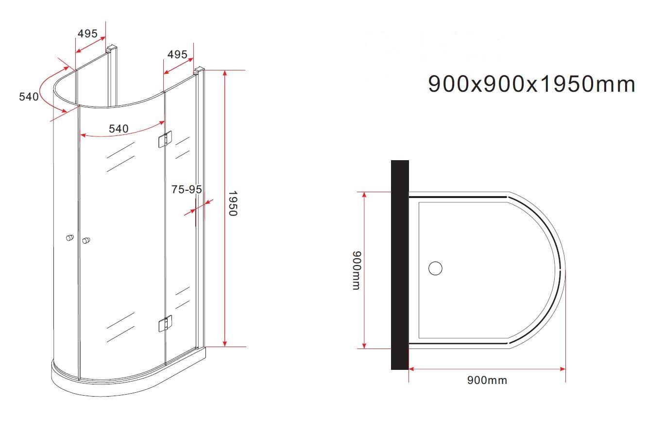 faltbare U-Duschkabine Semio 90 x 90 x 195 cm ohne Duschtasse