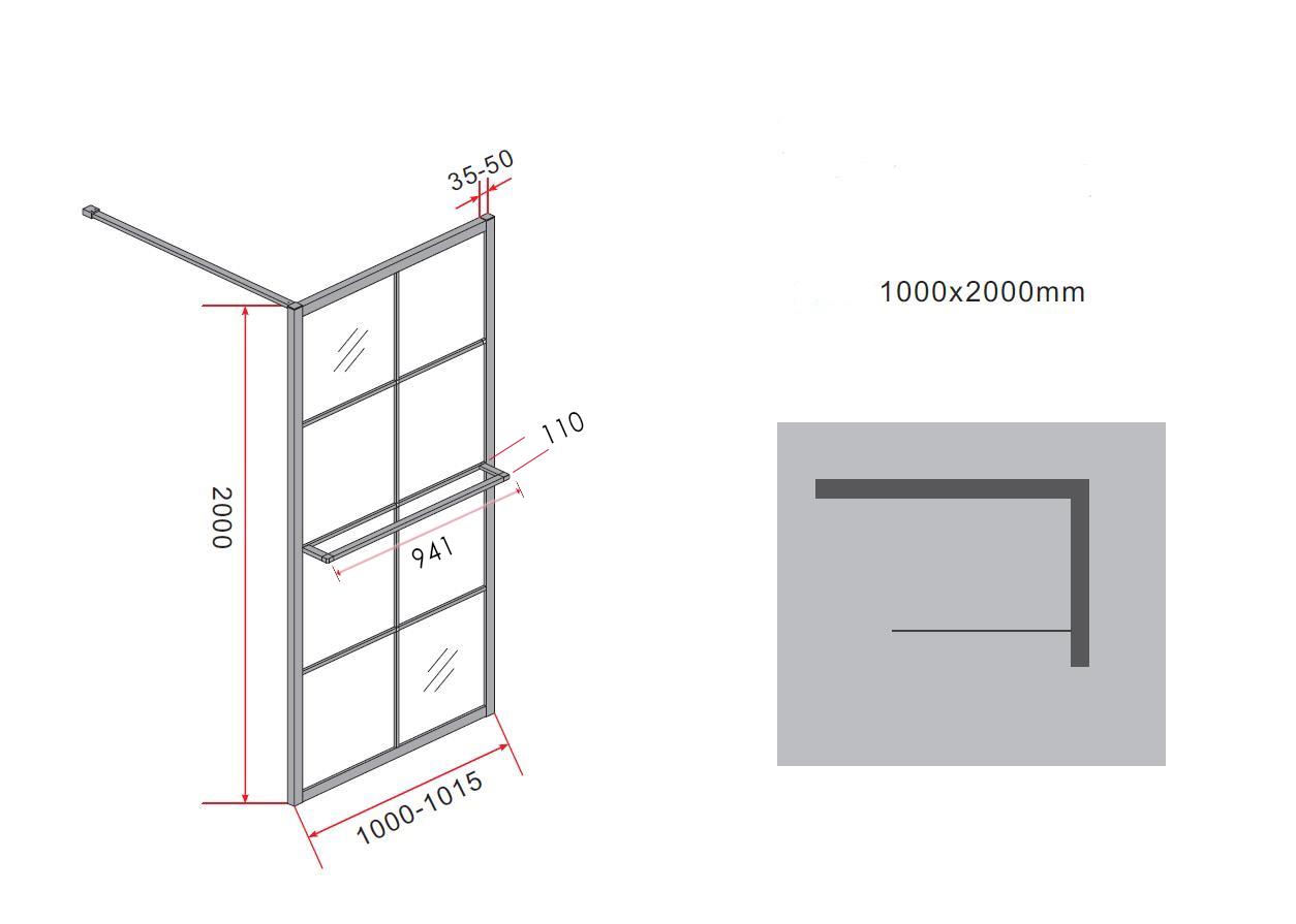 10 mm Duschwand STORE 100 x 200 cm