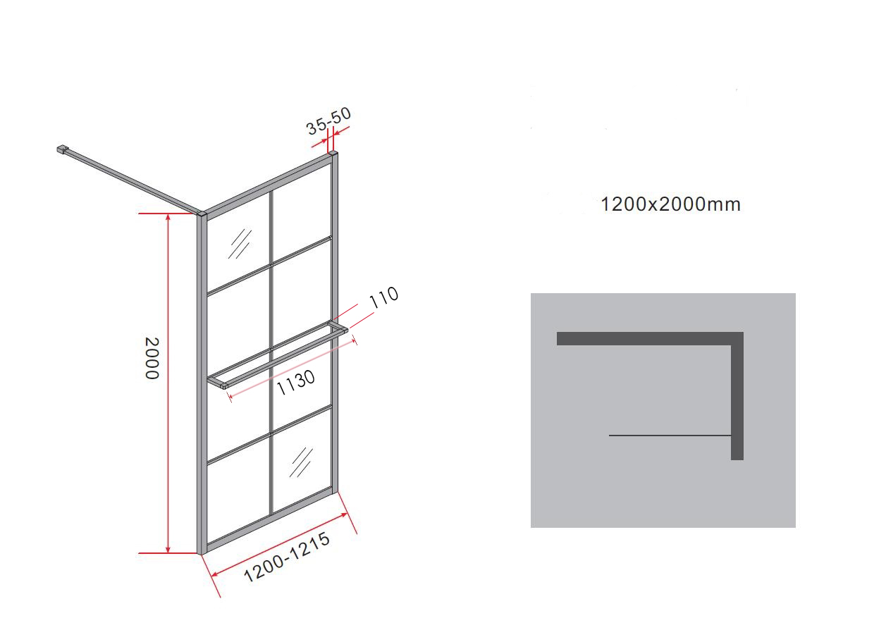 10 mm Duschwand STORE 120 x 200 cm
