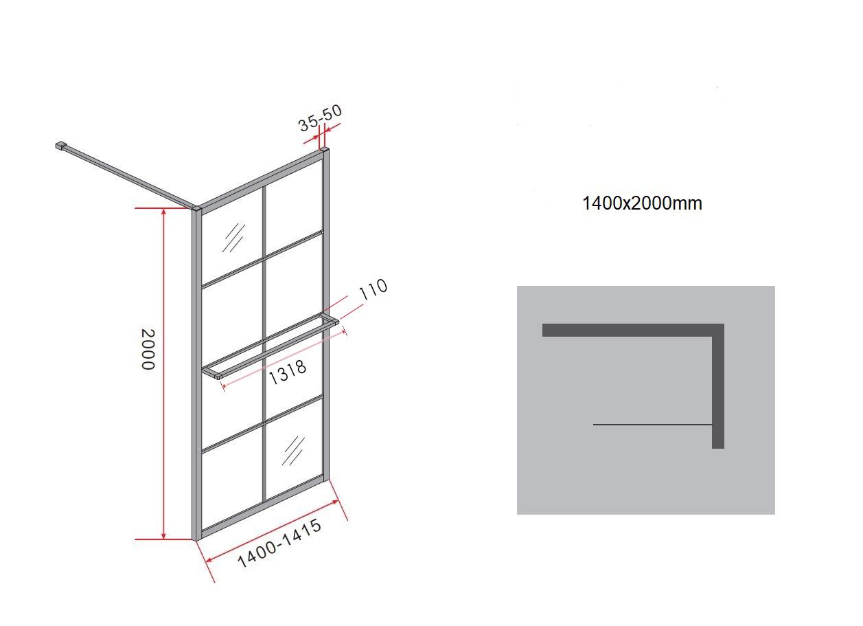 10 mm Duschwand STORE 140 x 200 cm