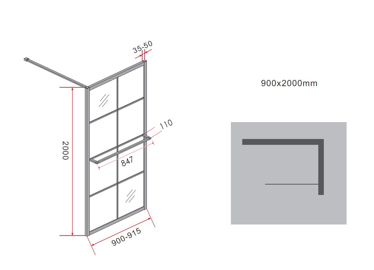 10 mm Duschwand STORE 90 x 200 cm