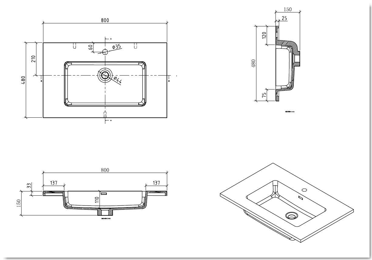 Badmöbel Unterschrank inkl. Waschtisch STRAGALA 80 (matt-schwarz)