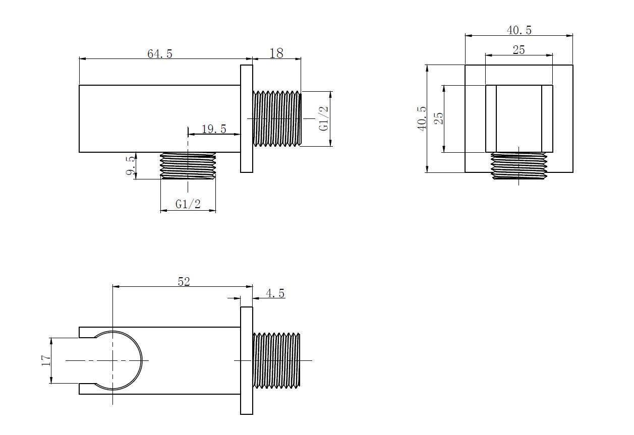 Wandanschlussbogen TT-8322 mit Halterung für Handbrause