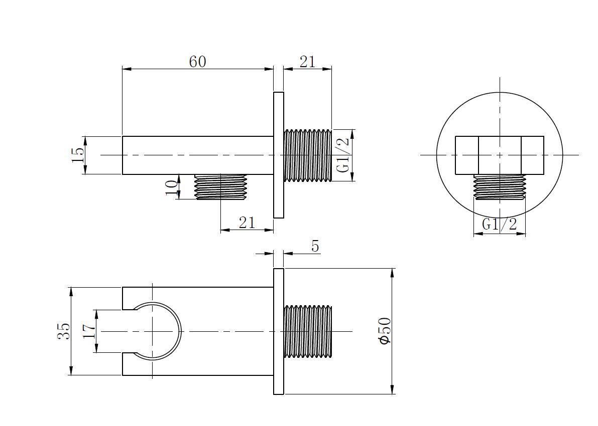Wandanschlussbogen TT-8324 mit Halterung für Handbrause