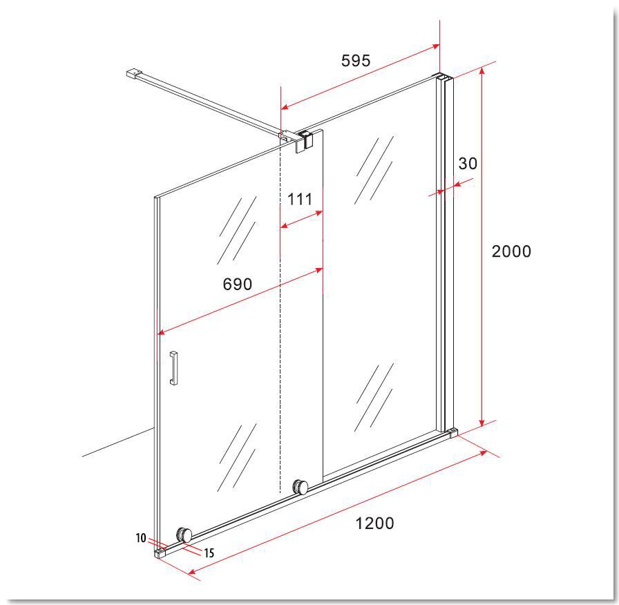 8 mm Schiebetür - Duschwand TUTTO 120 x 200 cm