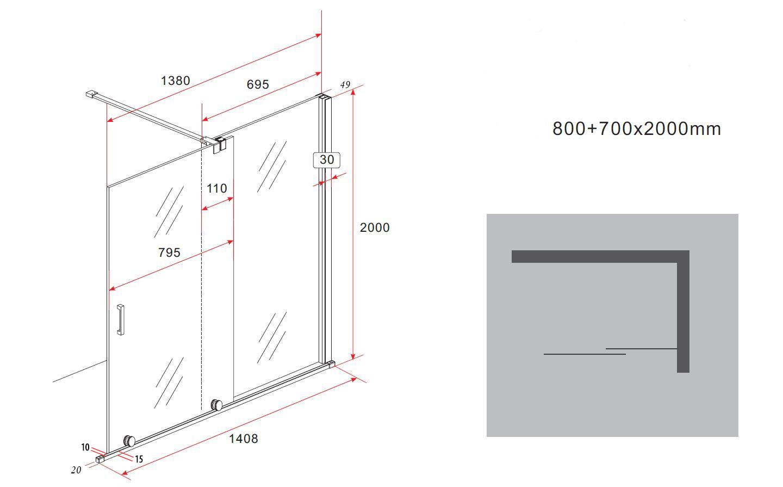 8 mm Schiebetür - Duschwand TUTTO 140 x 200 cm