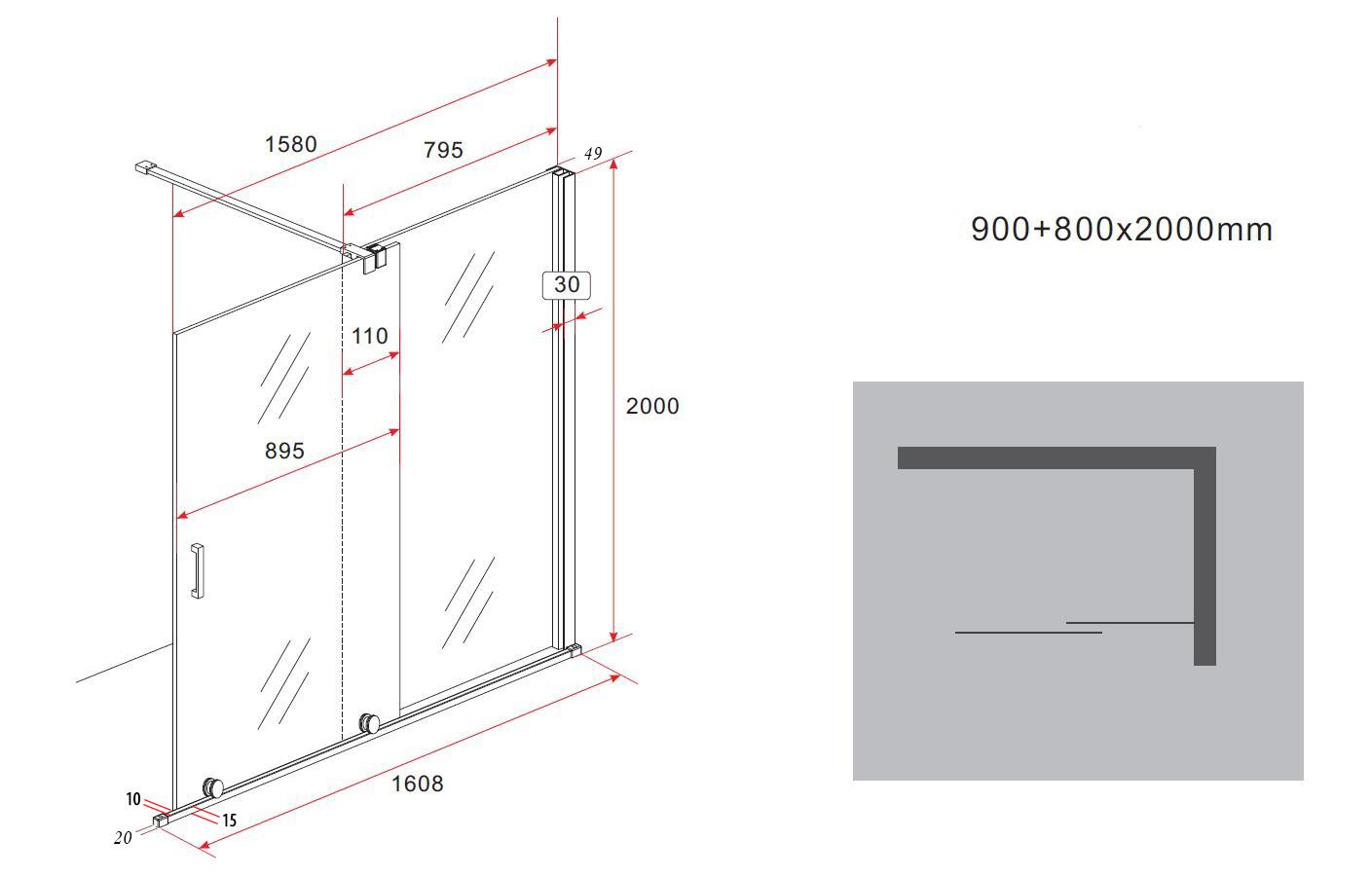 8 mm Schiebetür - Duschwand TUTTO 160 x 200 cm