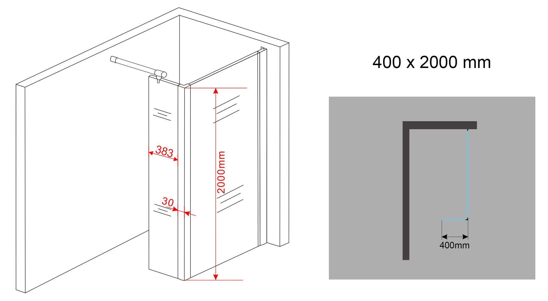 Anbauecke 40x200cm f r 10mm duschwand vacante walkin glas dusche duschabtrennung ebay - Glasscheibe fur fenster ...