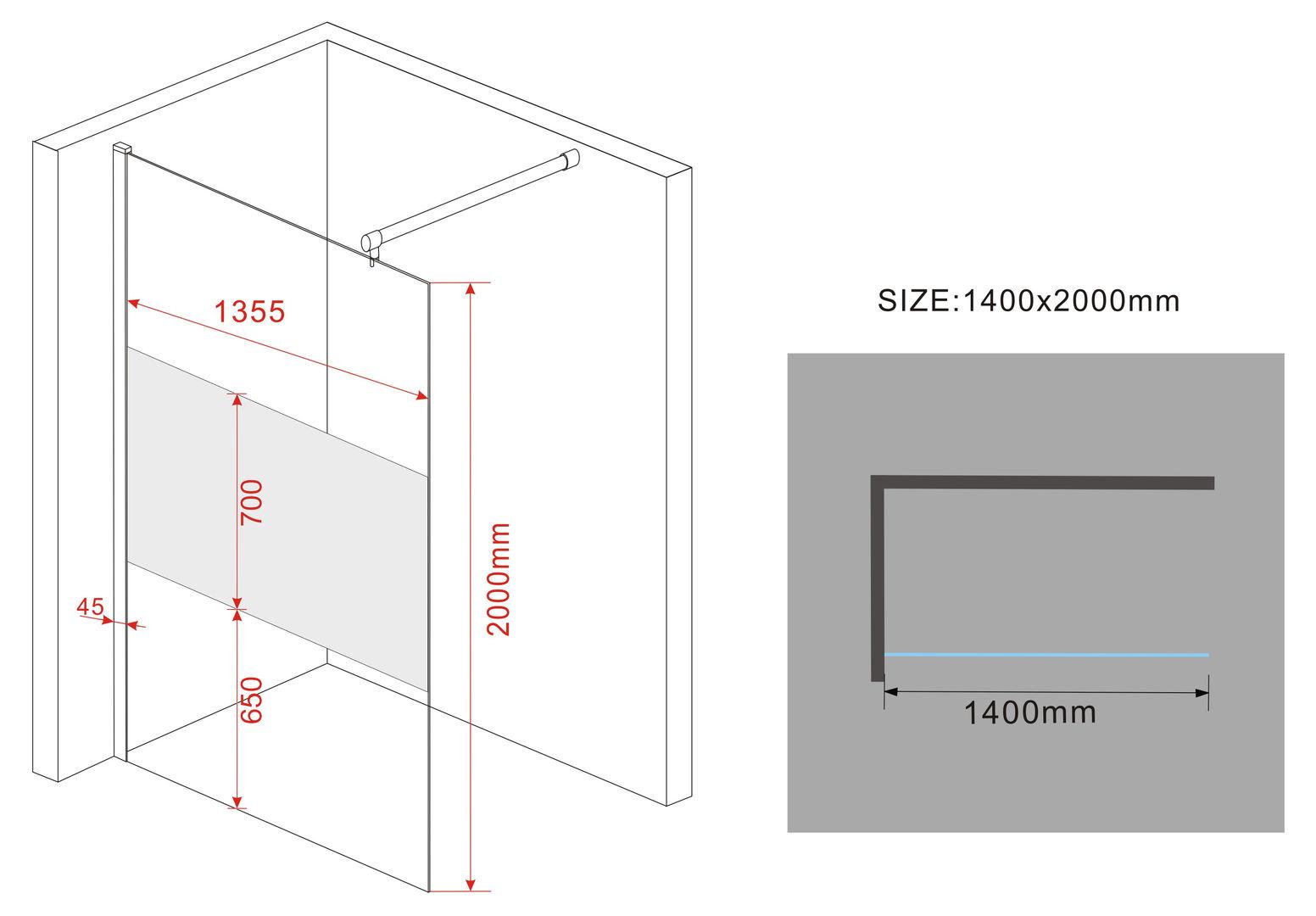 vacante fr 10mm duschwand glas walk in dusche duschkabine. Black Bedroom Furniture Sets. Home Design Ideas