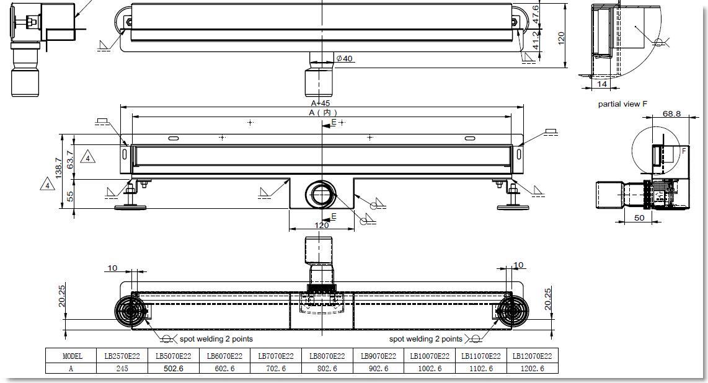 Edelstahl-Duschrinne zur Wandmontage (70 cm)