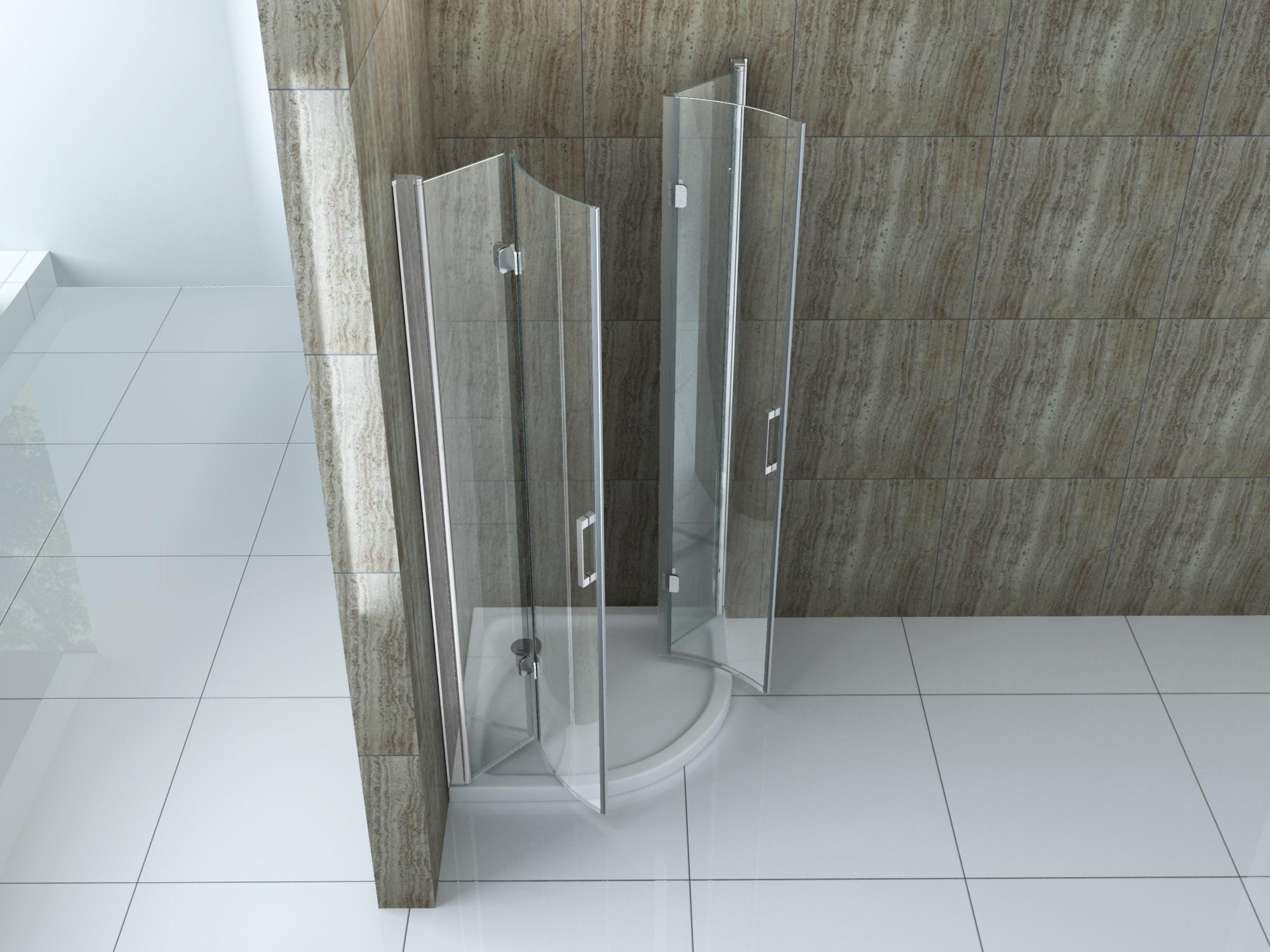 faltbare Duschkabine Plegabo 90 x 90 x 195 cm (Viertelkreis)