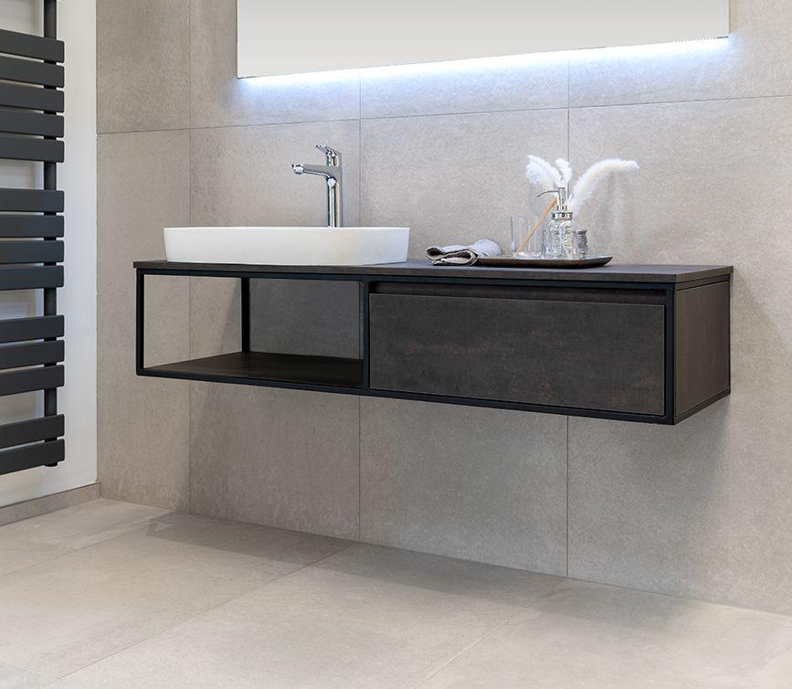 Badmöbel Unterschrank REED-120 (HPL / beton) ohne Waschtisch
