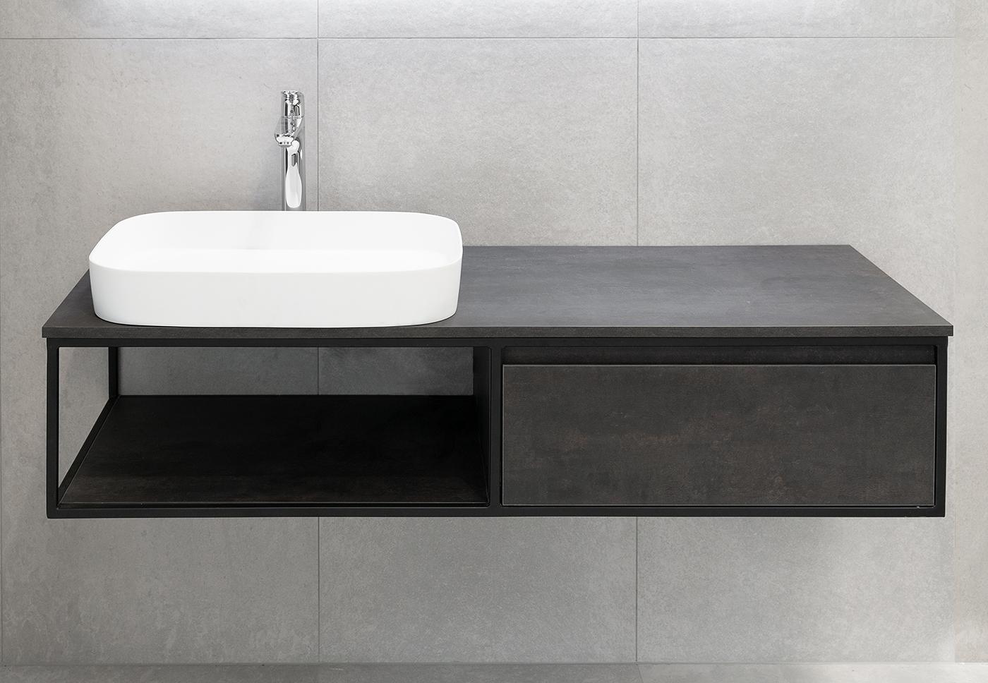 Badmöbel Unterschrank REED-140 (HPL / beton) ohne Waschtisch