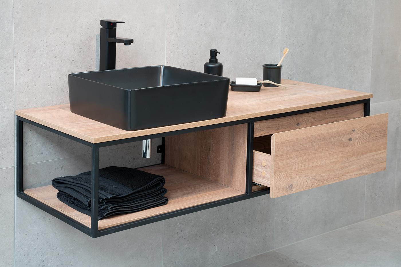 Badmöbel Unterschrank REED-120 (eiche) ohne Waschtisch