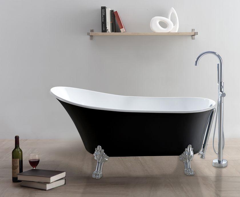 Freistehende Badewanne Retro Schwarzweiß Alphabad