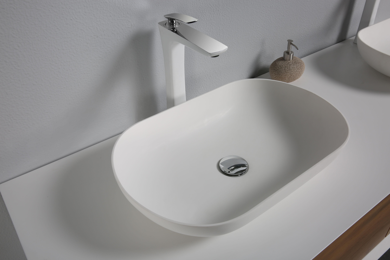 Mineralguss Unterschrank RONADA-160 inkl. 2 Waschtische (eiche-weiß)