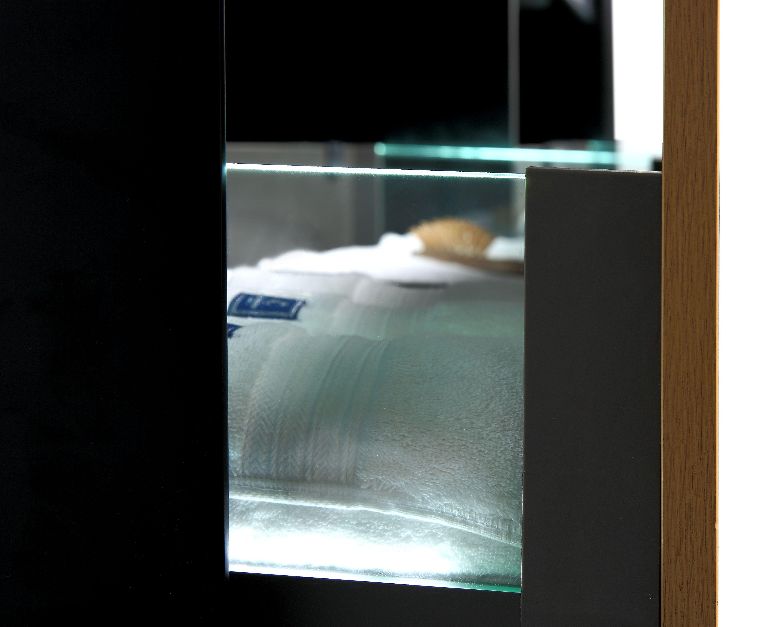 Luxus Waschtischanlage ROYALO-190 inkl. 2 Waschtische (eiche-schwarz)