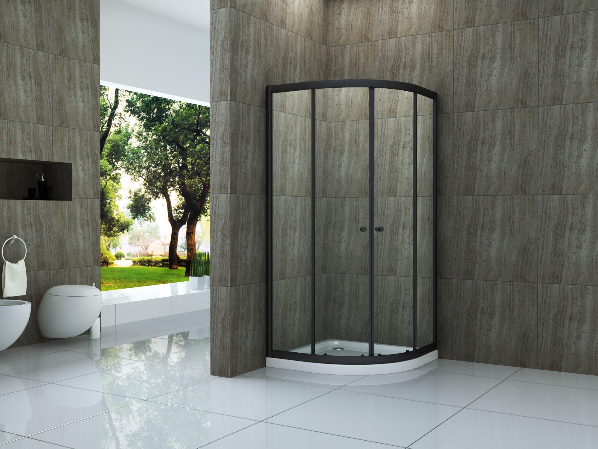 Duschkabine ST02 (schwarz) 80 x 80 x 190 cm ohne Duschtasse