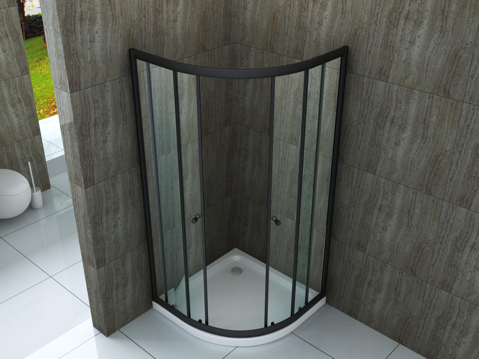 Duschkabine ST02 (schwarz) 90 x 90 x 190 cm ohne Duschtasse