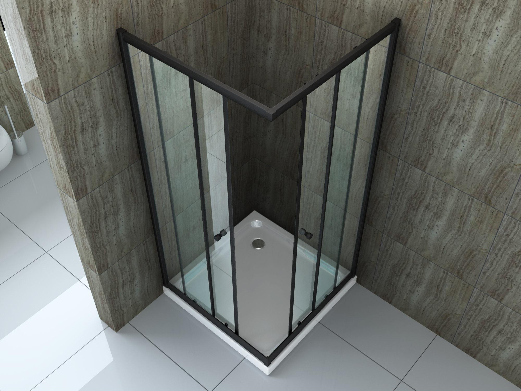 Duschkabine ST01 (schwarz) 80 x 80 x 190 cm ohne Duschtasse
