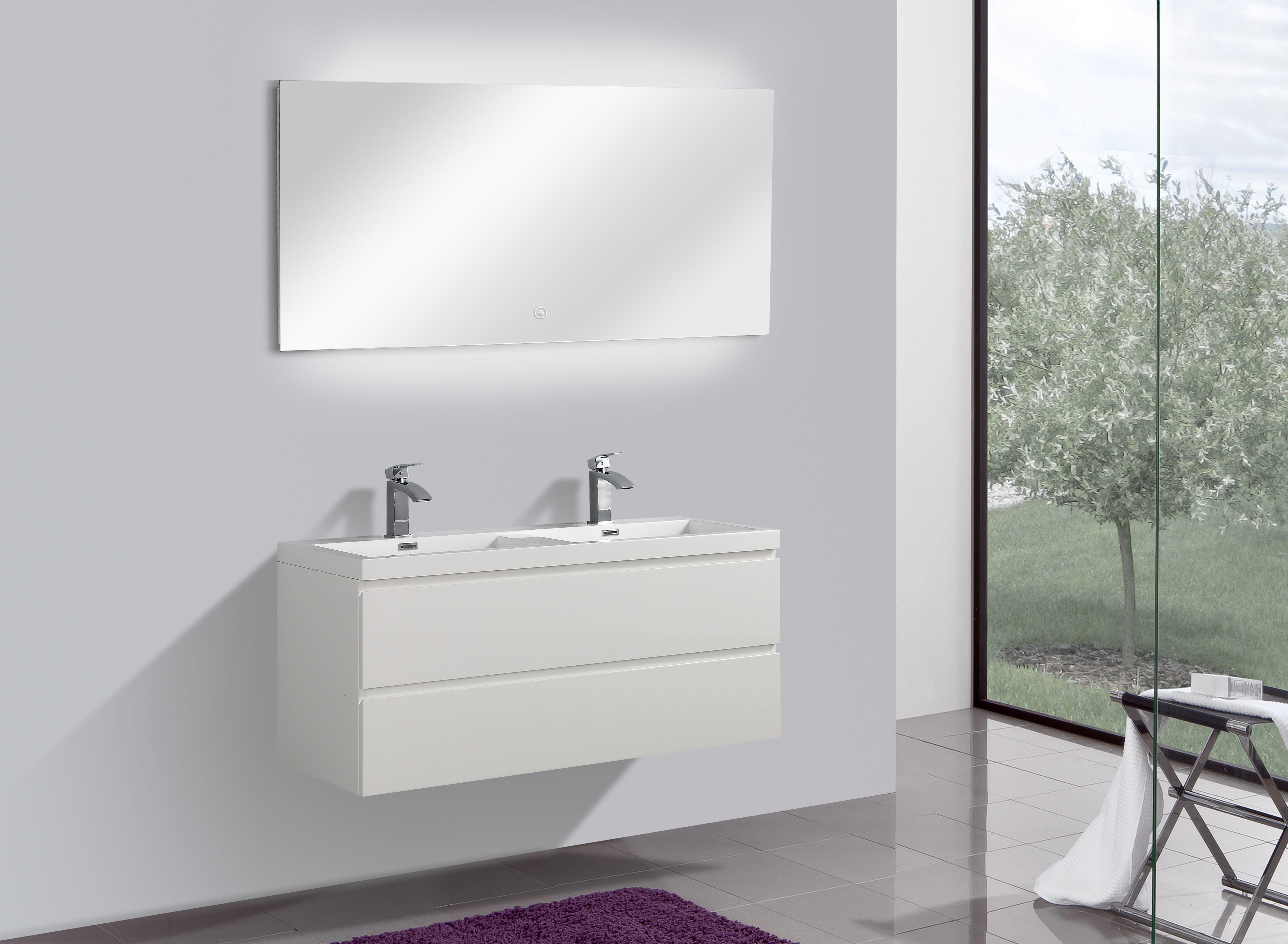 Badmöbel Unterschrank SWIFT 120 inkl. Doppelwaschtisch (hochglanz-weiß)