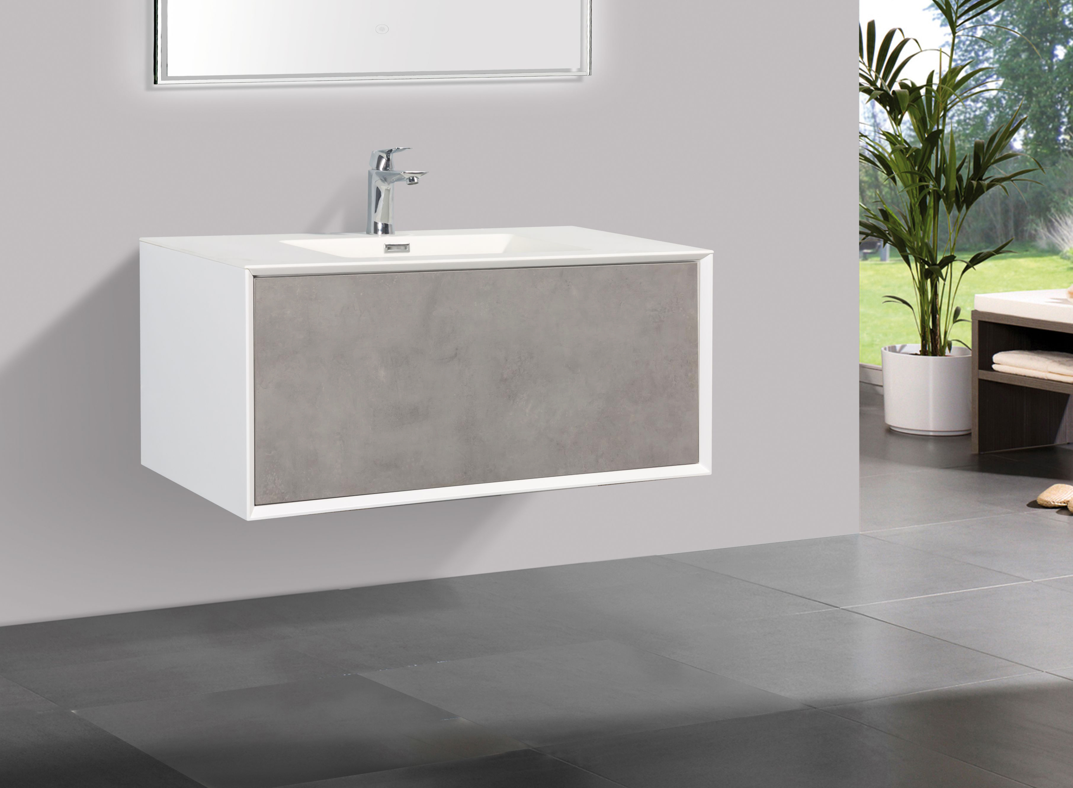 Badmöbel Unterschrank inkl. Waschtisch SELVA 90 (beton)