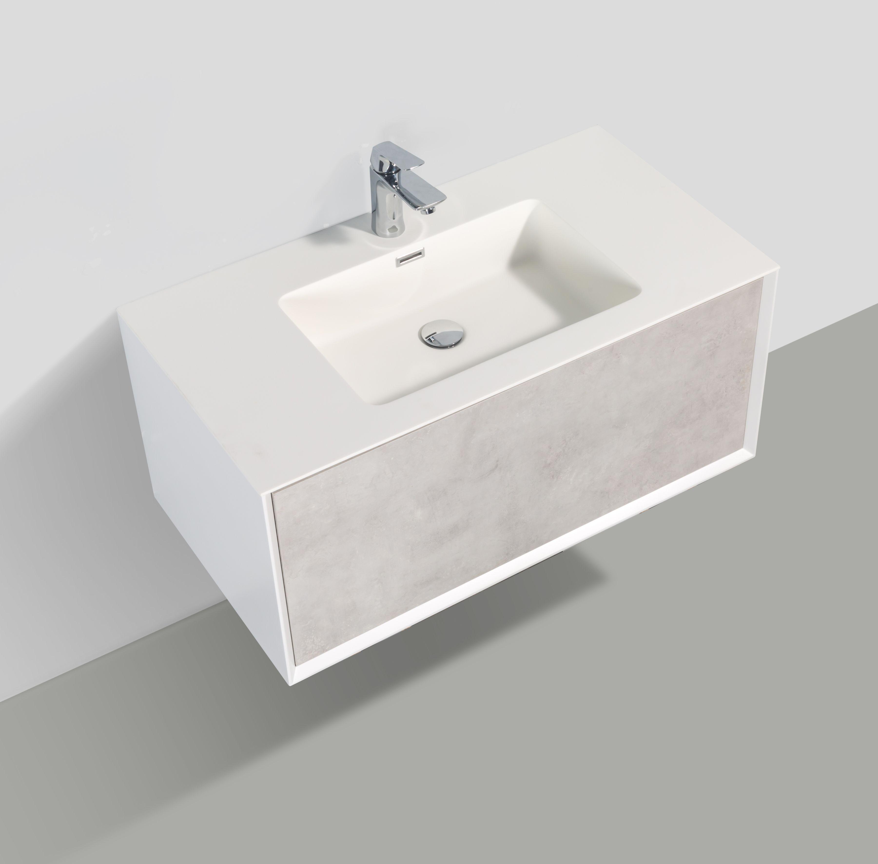 Badmöbel Unterschrank inkl. Waschtisch SELVA 60 (beton)