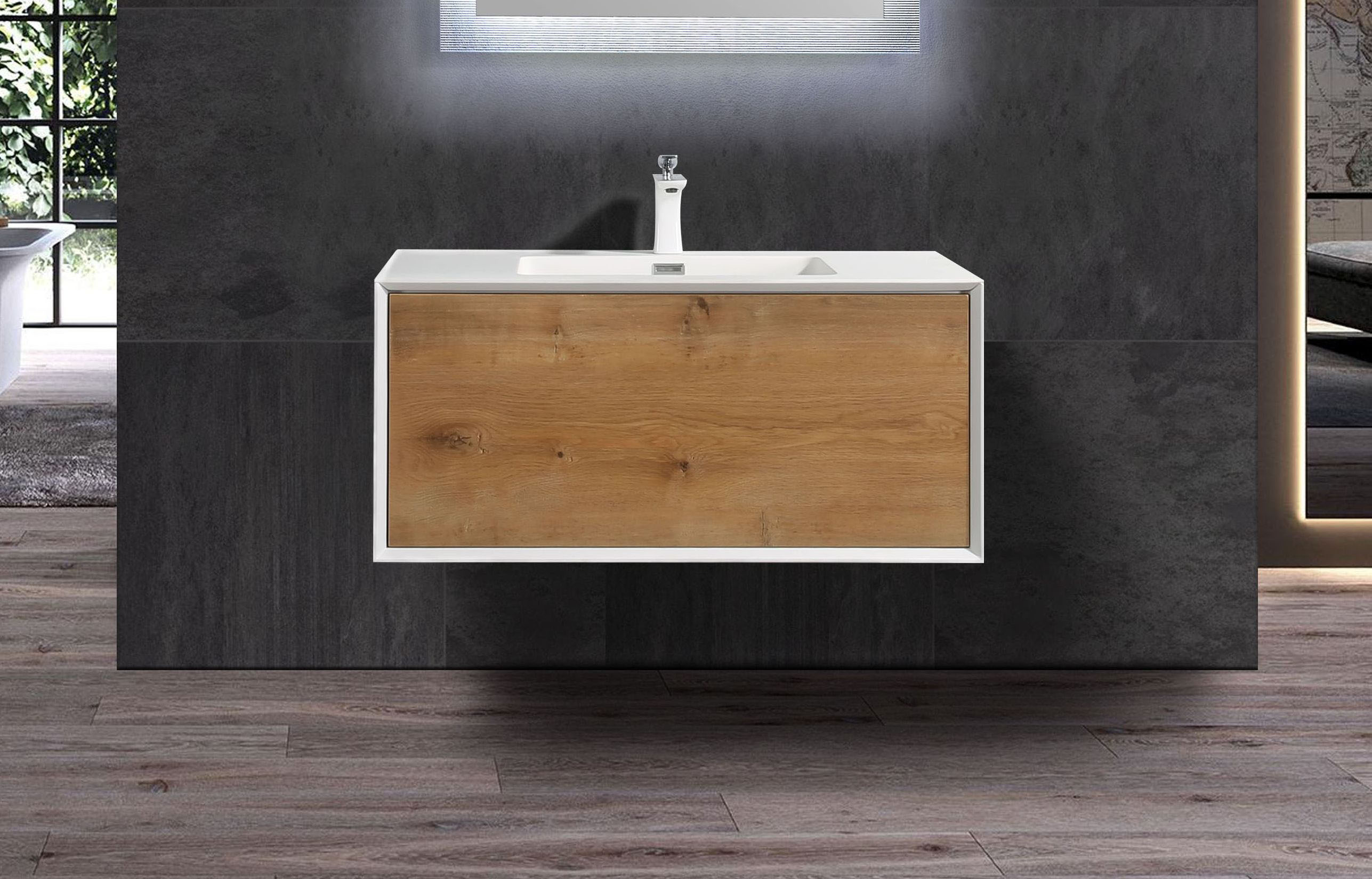 Badmöbel Unterschrank inkl. Waschtisch SELVA 60 (eiche-weiß)