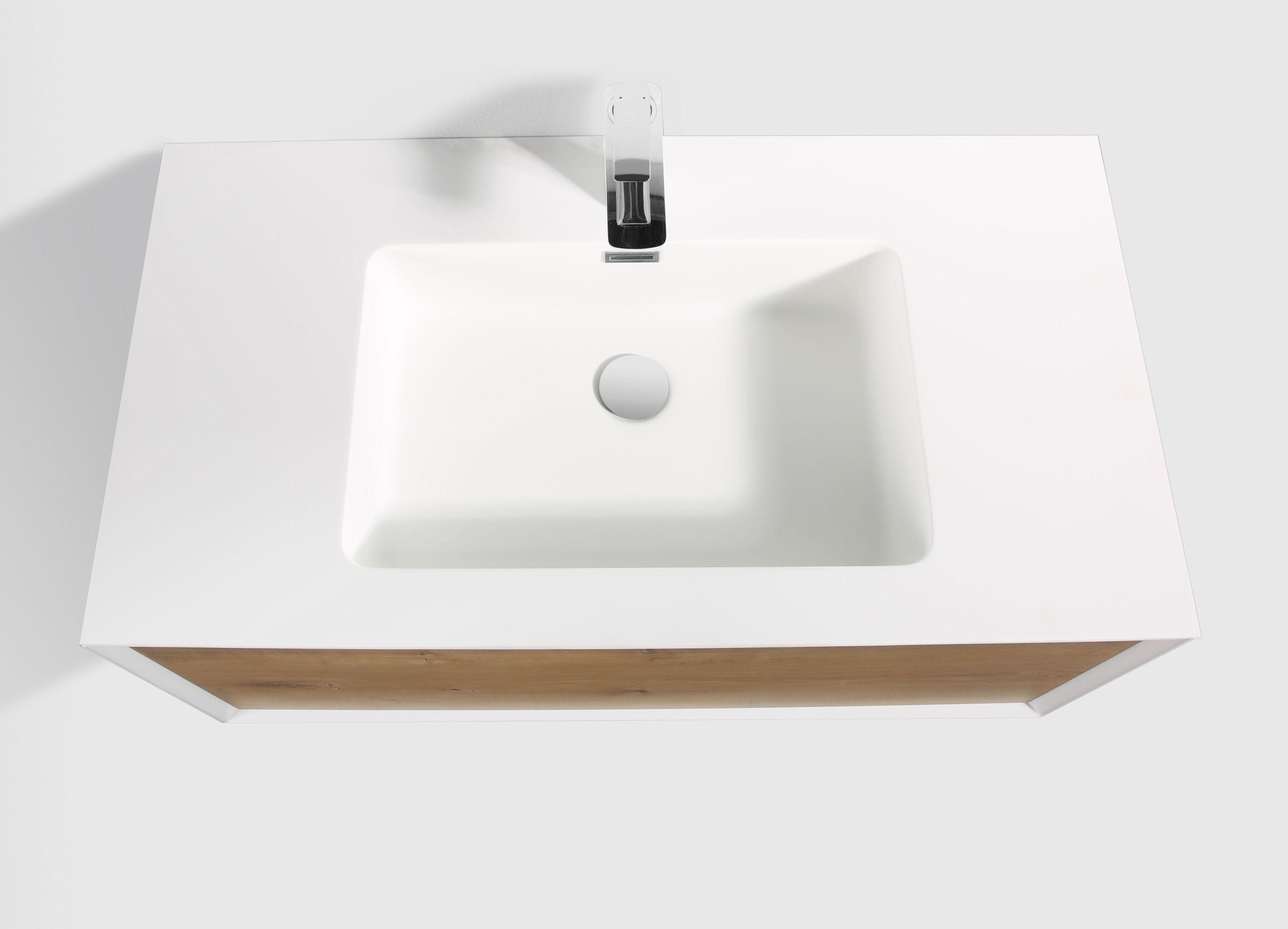 Badmöbel Unterschrank inkl. Waschtisch SELVA 90 (eiche-weiß)