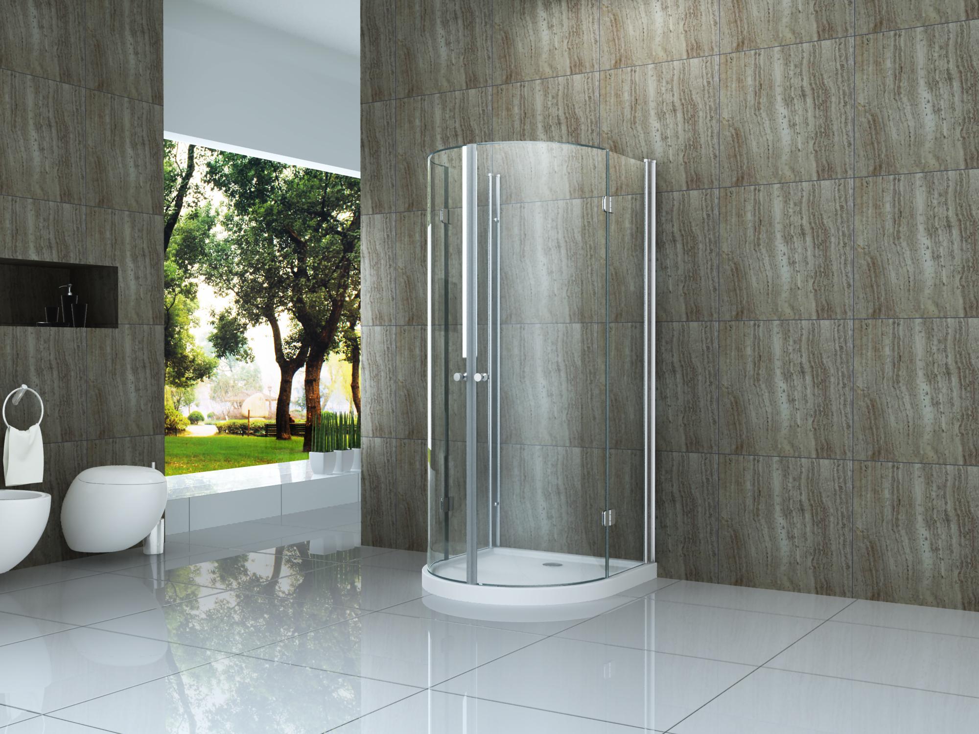 faltbare U-Duschkabine Semio 100 x 100 x 195 cm ohne Duschtasse