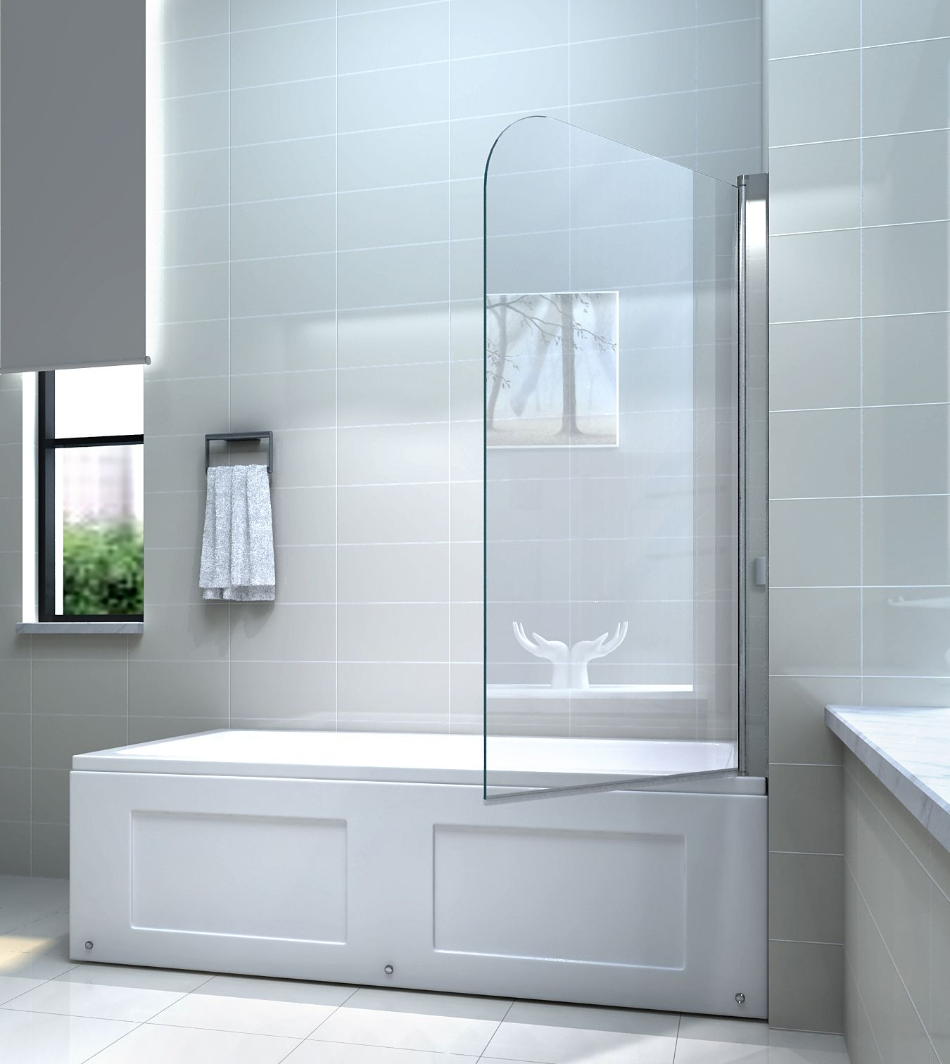 6mm glas duschwand f r badewannen badewannenaufsatz duschabtrennung ebay. Black Bedroom Furniture Sets. Home Design Ideas