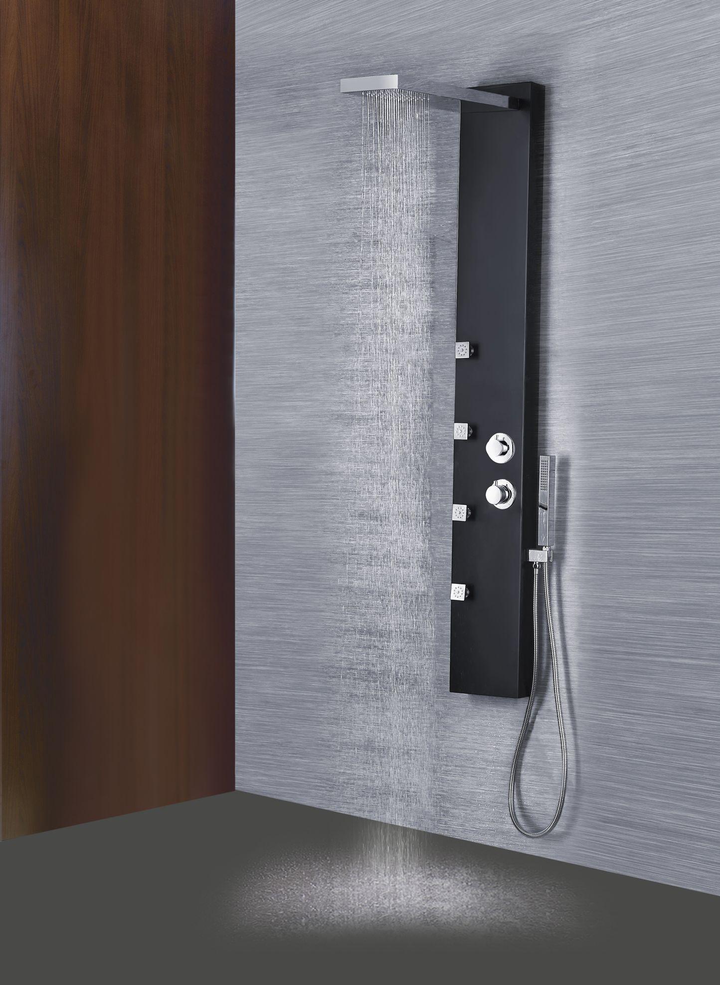 silber Duschpaneel Duschsäule Brausepaneel Dusche mit SEDAL ALURO Thermostat