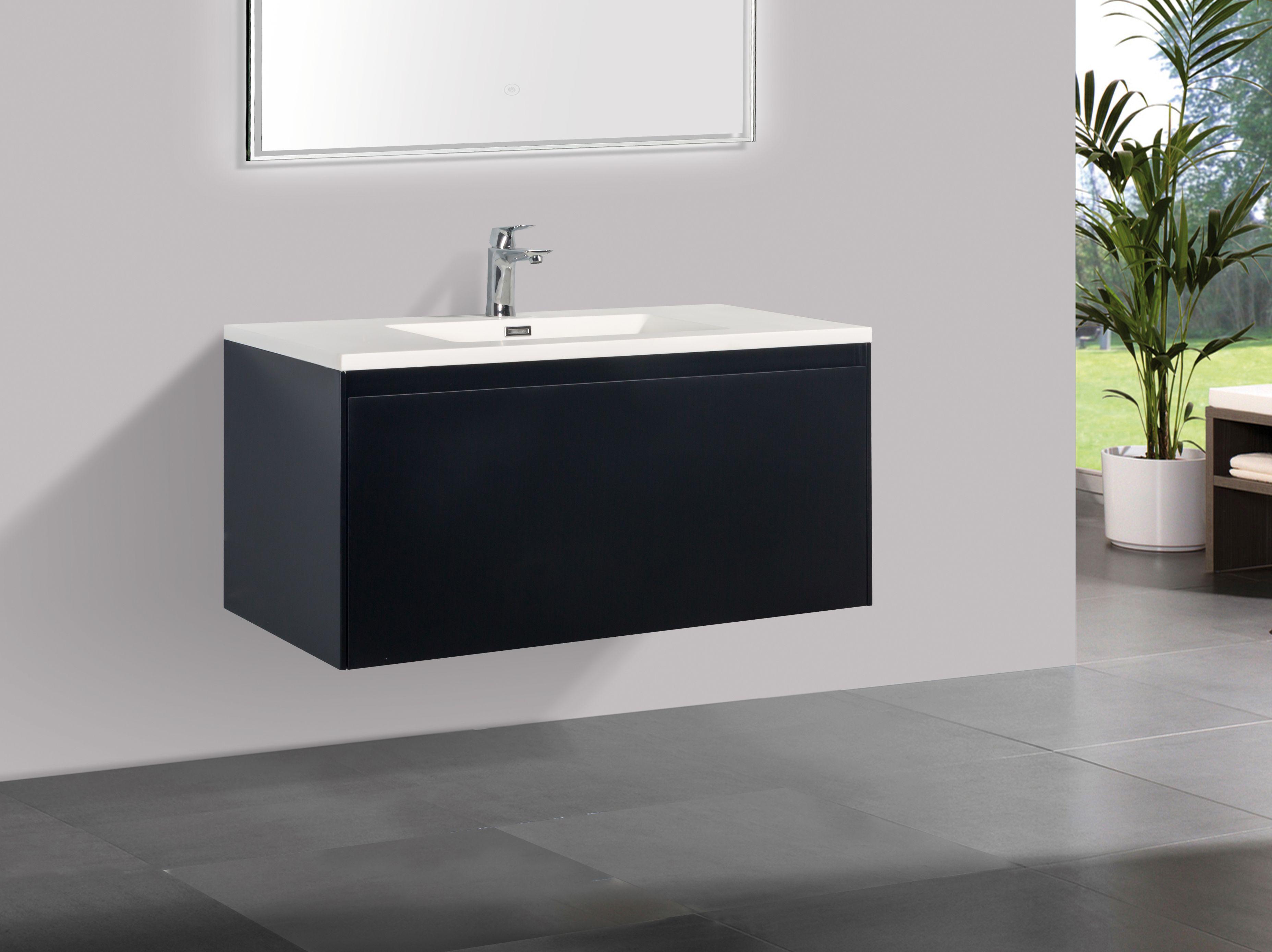 Badmöbel Unterschrank inkl. Waschtisch STRAGALA 100 (matt-schwarz)