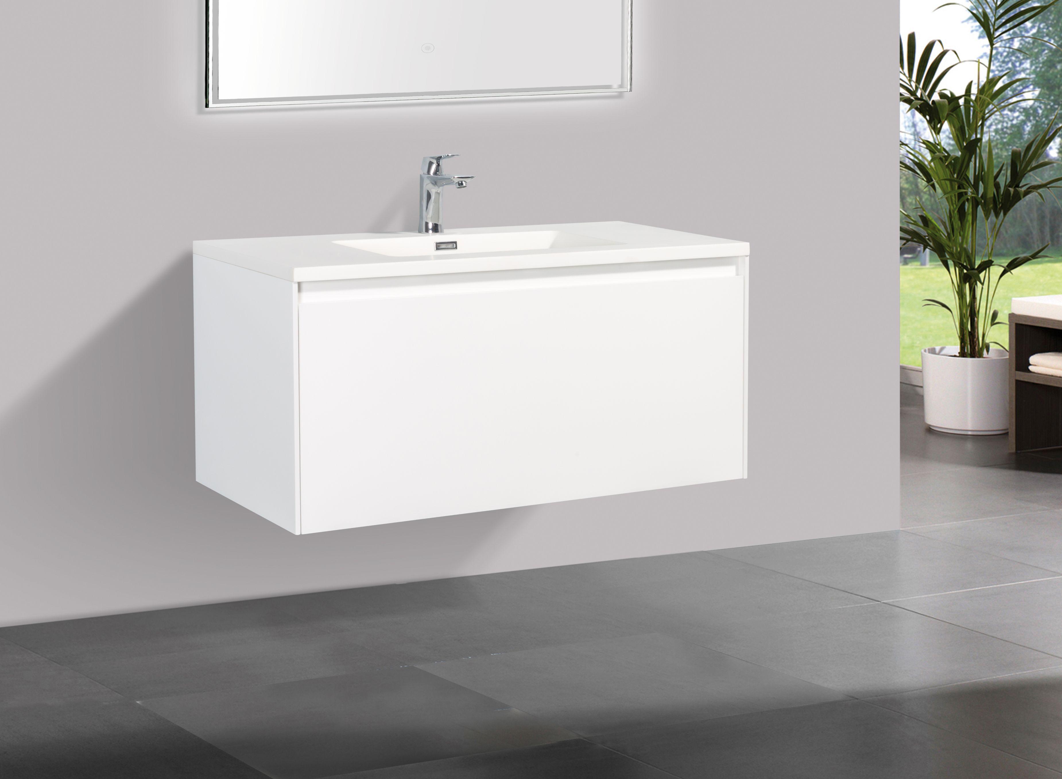 Badmöbel Unterschrank inkl. Waschtisch STRAGALA 100 (matt-weiß)